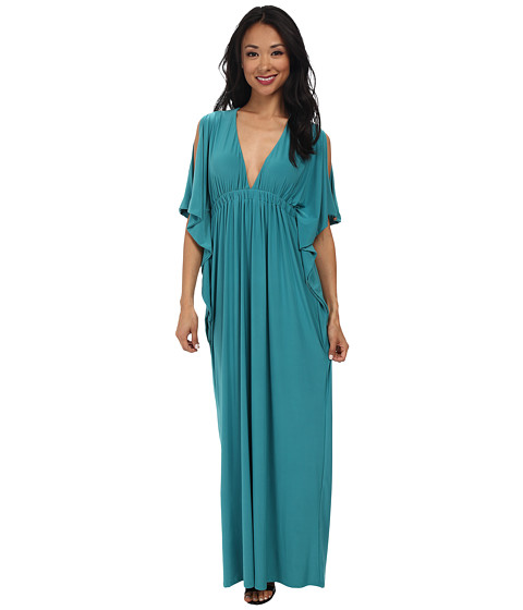 Tbags Los Angeles - Open Sleeves Bat Wing Maxi Dress with Cutout Back (Turquoise) Women
