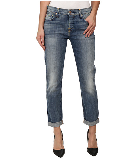 7 For All Mankind - Josefina w/ Rolled Hem in Slim Illusion Dusty Vintage Blue (Slim Illusion Dusty Vintage Blue) Women
