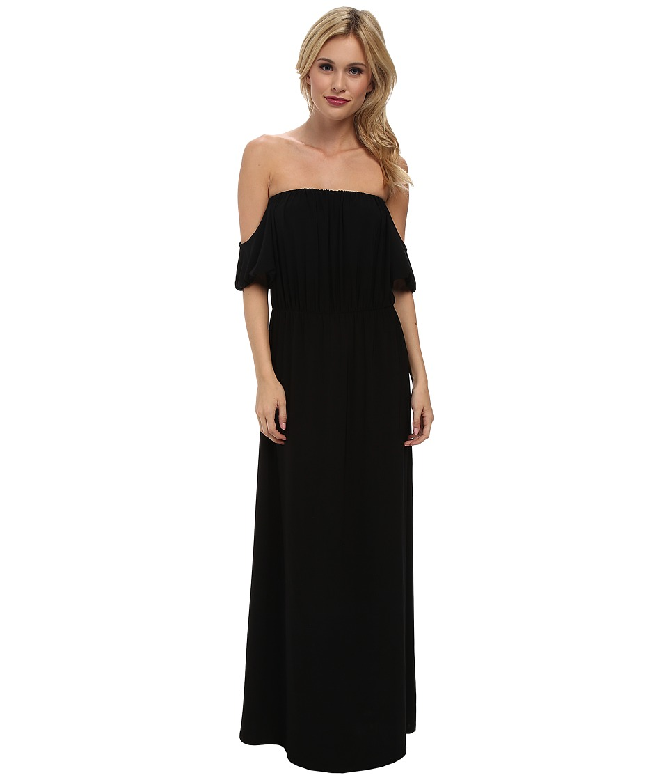 Tbags Los Angeles - Cutout Sleeves Off Shoulder Waisted Maxi Dress (Black) Women