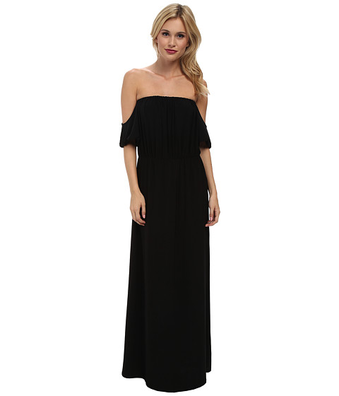 Tbags Los Angeles - Cutout Sleeves Off Shoulder Waisted Maxi Dress (Black) Women's Dress