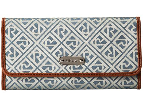 Relic - Logo Jacquard Flap Checkbook (Blue) Checkbook Wallet