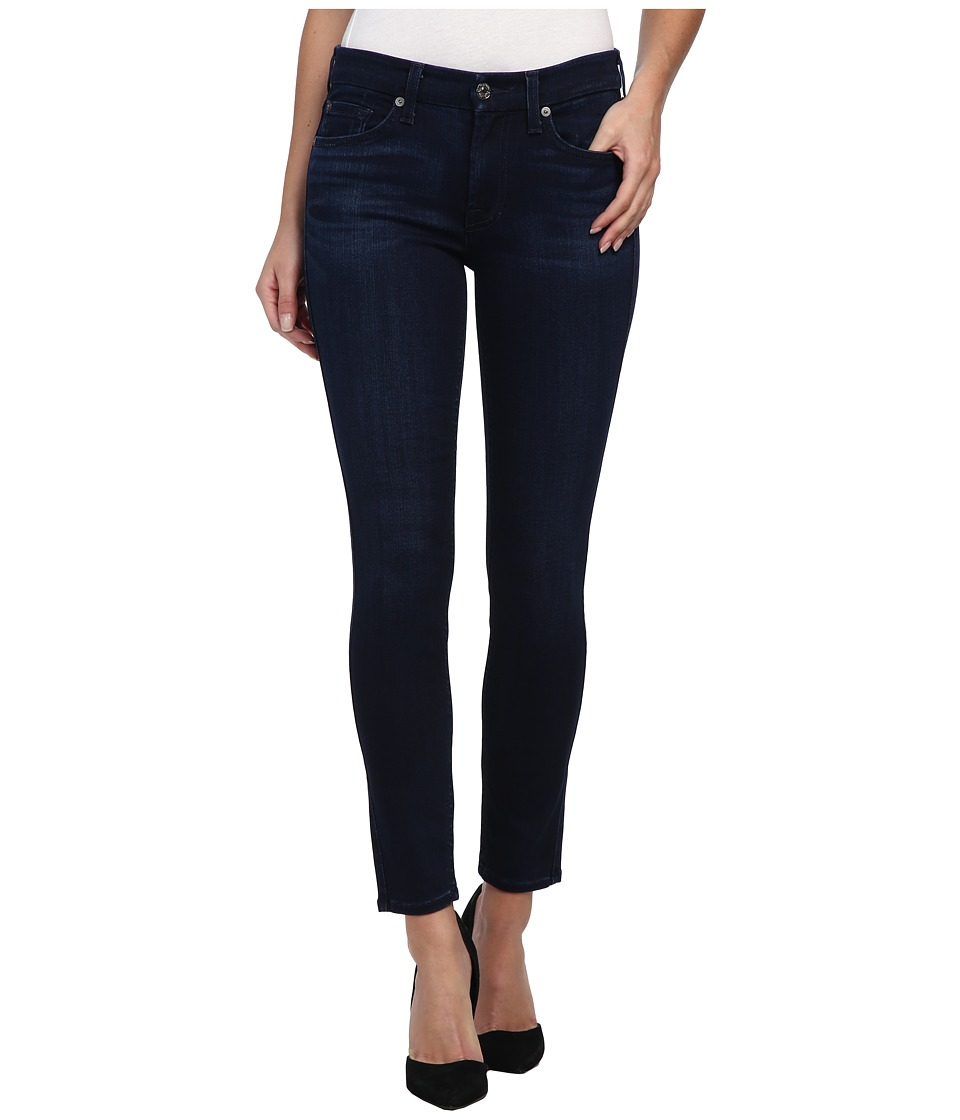 7 For All Mankind - The Ankle Skinny w/ Contour Waistband in Pristine Blue Black (Pristine Blue Black) Women's Jeans