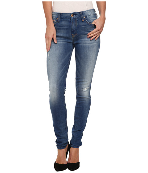 7 For All Mankind - Mid Rise Skinny w/ Squiggle Contour Waistband in Bright Skies Blue (Bright Skies Blue) Women's Jeans