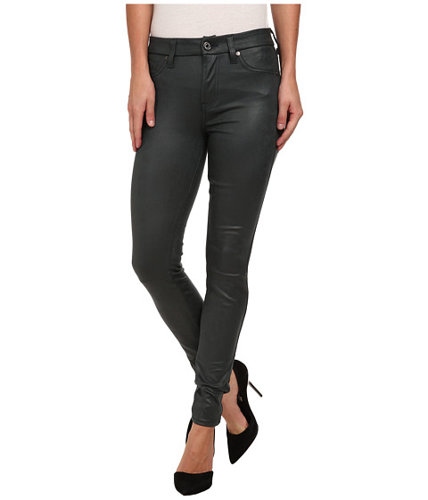 7 For All Mankind - Knee Seam Skinny w/ Contour Waistband in Teal Leather-Like (Teal Leather-Like) Women