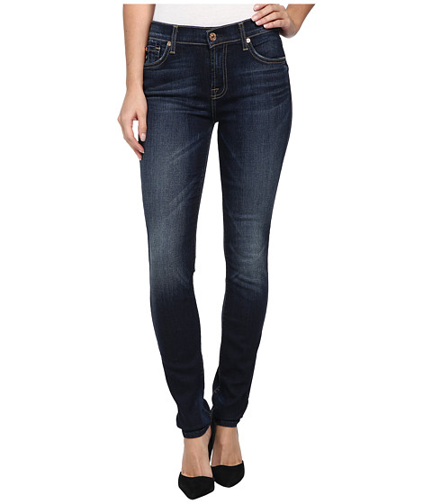 7 For All Mankind - Mid Rise Skinny w/ Squiggle in Alpine Blue (Alpine Blue) Women