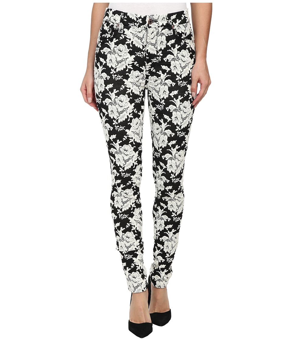 7 For All Mankind - The Highwaist Skinny w/ Contour Waistband in White Rose Jacquard (White Rose Jacquard) Women