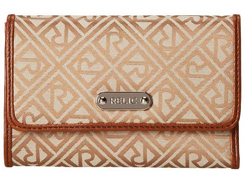 Relic - Logo Jacquard Flap Multifunction (Khaki) Handbags