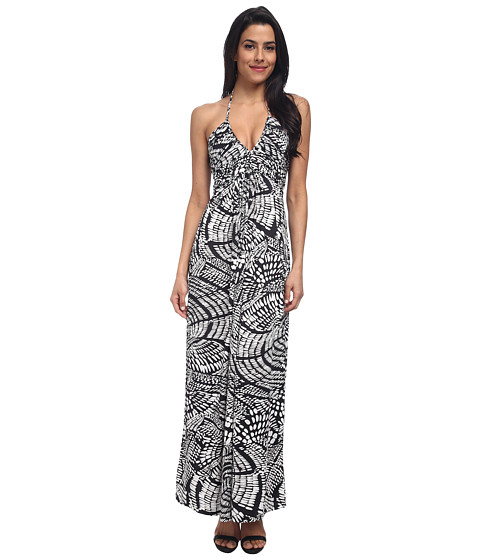 Tbags Los Angeles - Deep-V Ruched Halter Maxi with Triple Braid (White/Black) Women