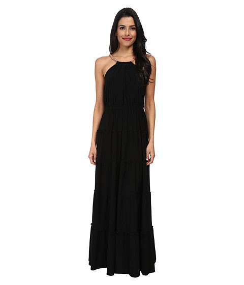 Tbags Los Angeles - Halter Tiered Maxi with Colored Braid Strap (Black) Women