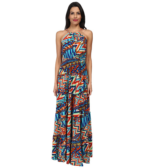 Tbags Los Angeles - Halter Tiered Maxi with Colored Braid Strap (Orange/Blue) Women