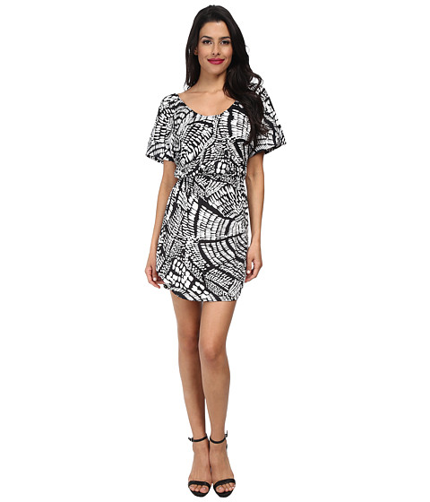 Tbags Los Angeles - Cuffed Sleeve Banded Hem Scoop Neck Dress (White/Black) Women