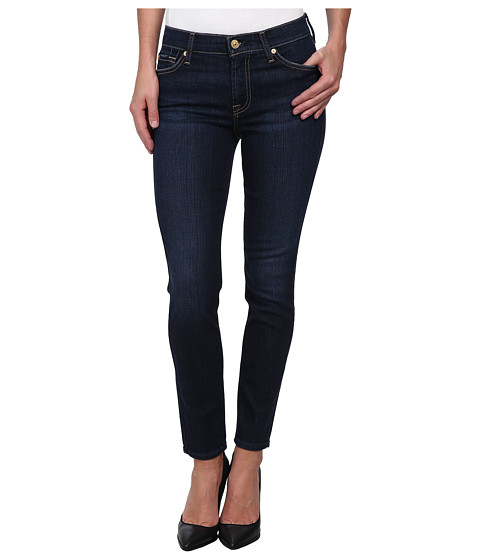 7 For All Mankind - Mid Rise Ankle Skinny in Dark Royale Rinse (Dark Royale Rinse) Women