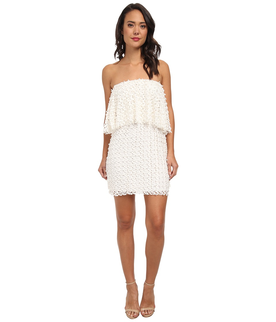 Tbags Los Angeles - Lace Crochet Ruffle Tube Dress (Ivory) Women's Dress