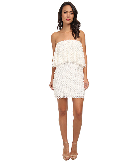 Tbags Los Angeles - Lace Crochet Ruffle Tube Dress (Ivory) Women