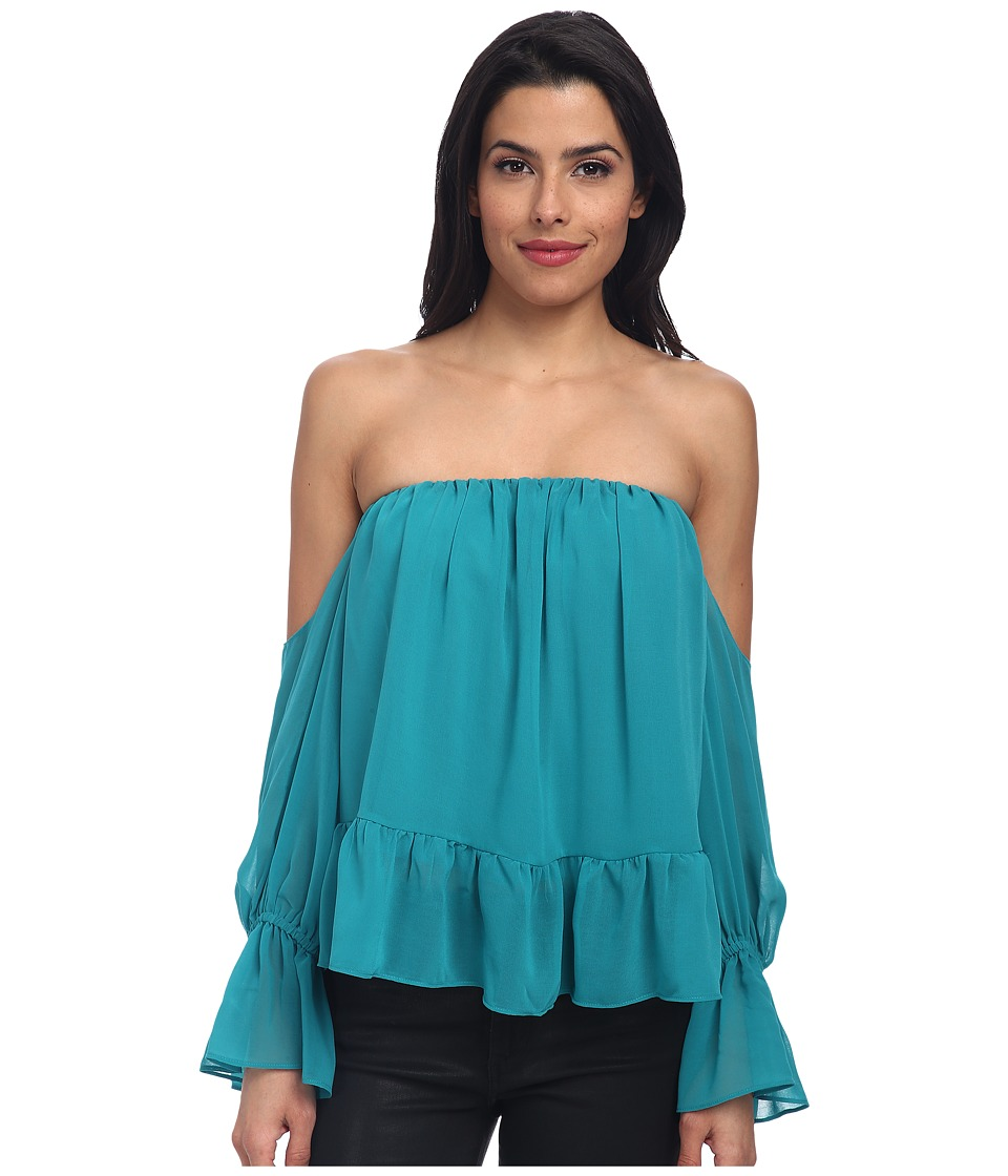 Tbags Los Angeles - Chiffon Ruffled Top with Cutout (Seafoam) Women's Blouse