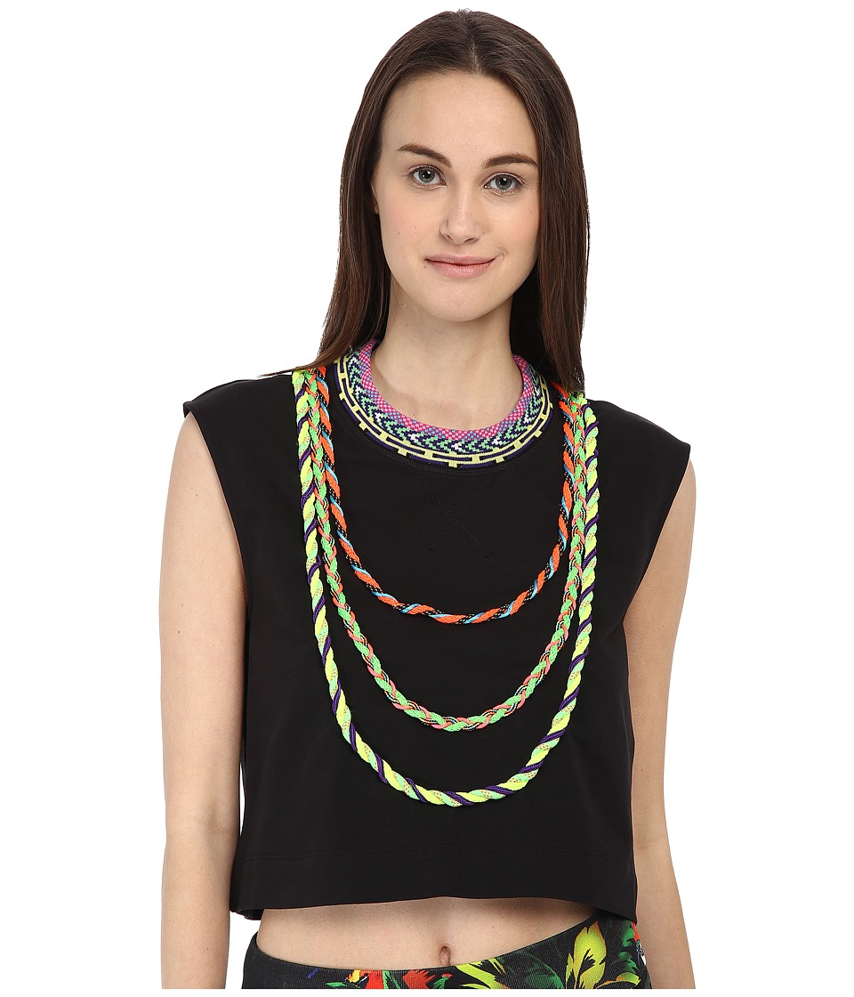 LOVE Moschino - Woven Trim Sleeveless Crop Top (Black) Women