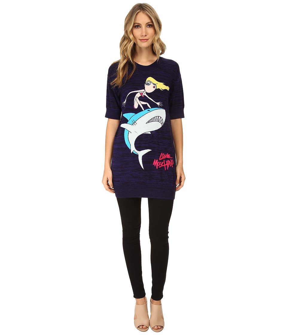 LOVE Moschino - I Love Sharks T-Shirt (Navy) Women
