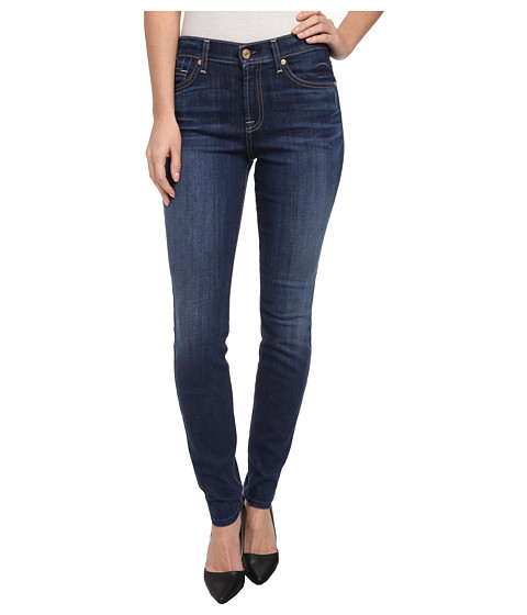 7 For All Mankind - Mid Rise Skinny in Lovely Medium Blue (Lovely Medium Blue) Women