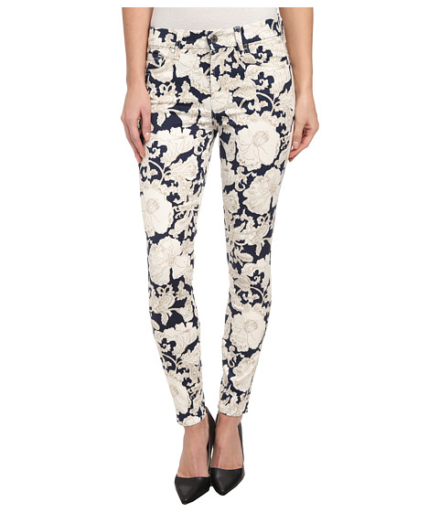 7 For All Mankind - The Ankle Skinny w/ Contour Waistband in White/Navy Floral (White/Navy Floral) Women