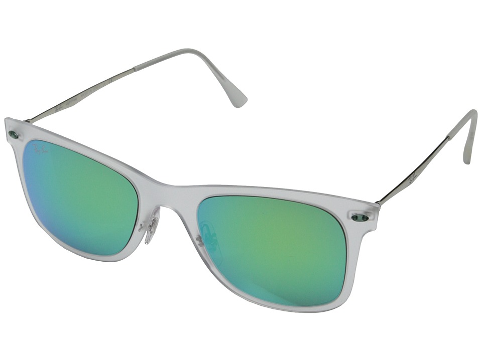 Ray-Ban - RB4210 50mm (Matte Transparent/Green Mirror) Fashion Sunglasses