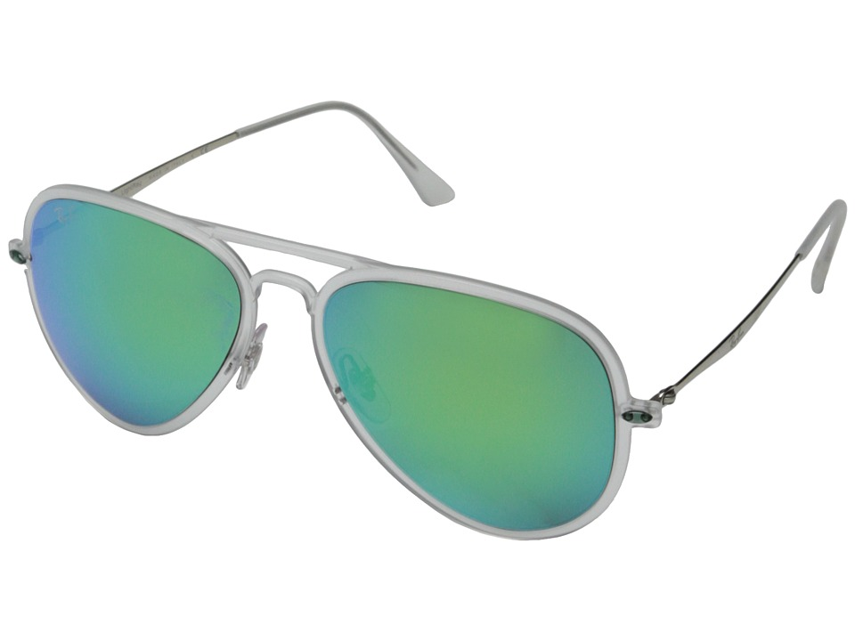 Ray-Ban - RB4211 56mm (Matte Transparent/Green Mirror) Fashion Sunglasses