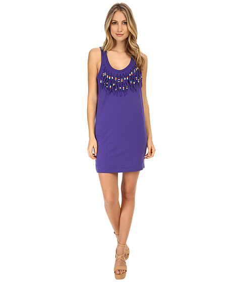 LOVE Moschino - Beaded Fringe Sleeveless Dress (Violet) Women