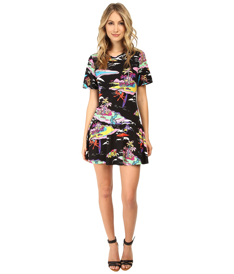 LOVE Moschino - S/S Tropical Paradise Dress (Black Multi) Women's Dress