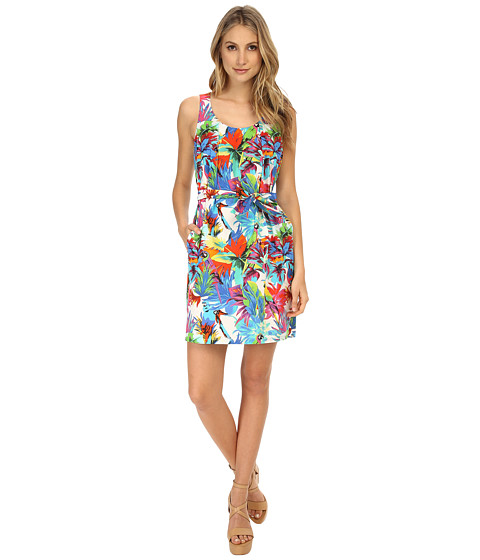LOVE Moschino - Tropical Print Sleeveless Dress (White Multi) Women's Dress