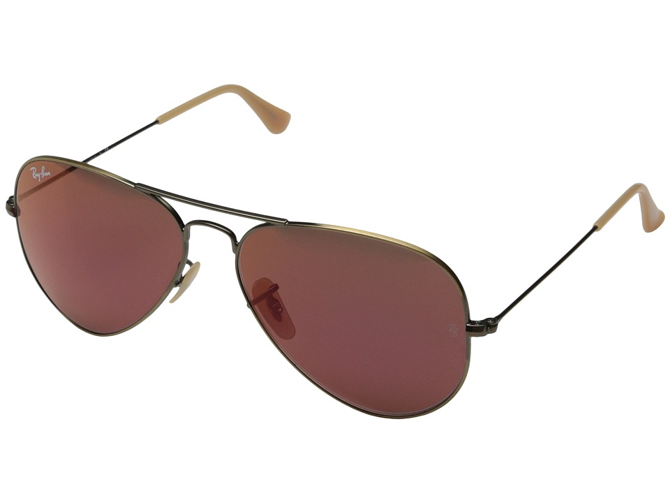 Ray-Ban - RB3025 Original Aviator 58mm (Demi Brushed Bronze/Red Mirror) Metal Frame Fashion Sunglasses