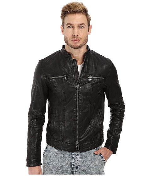 John Varvatos Star U.S.A. - Leather Jean Style Jacket with Band Collar and Oversized Zip Closures (Black) Men's Coat