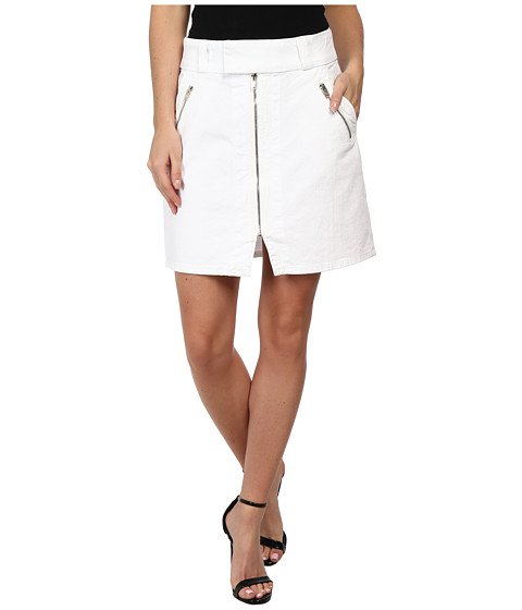 7 For All Mankind - A-Line Skirt w/ Exposed Zips in White Fashion (White Fashion) Women's Skirt