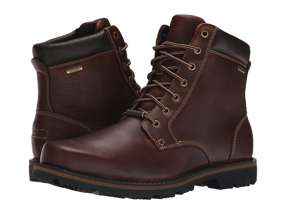 Rockport Gentry Waterproof Plaintoe Boot (Mahogany) Men