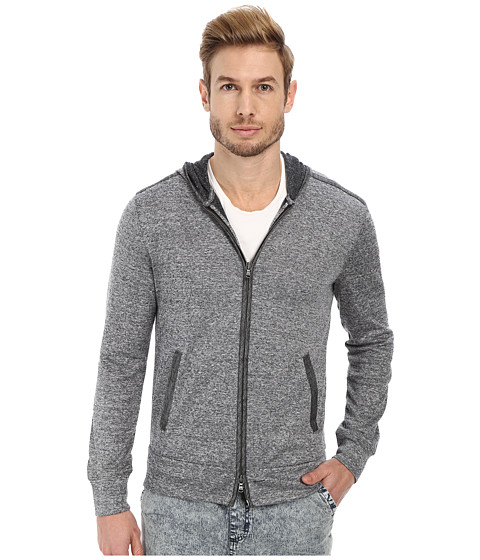 John Varvatos Star U.S.A. - Long Sleeve Zip Front Knit Hoodie with Coated Linen Trim (Black) Men's Sweatshirt