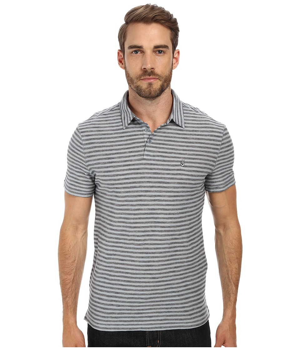 John Varvatos Star U.S.A. - Soft Collar Peace Polo with Vertical Pickstitch Trapunto Details and Peace Sign Chest Embroidery (Marine) Men's Short Sleeve Pullover