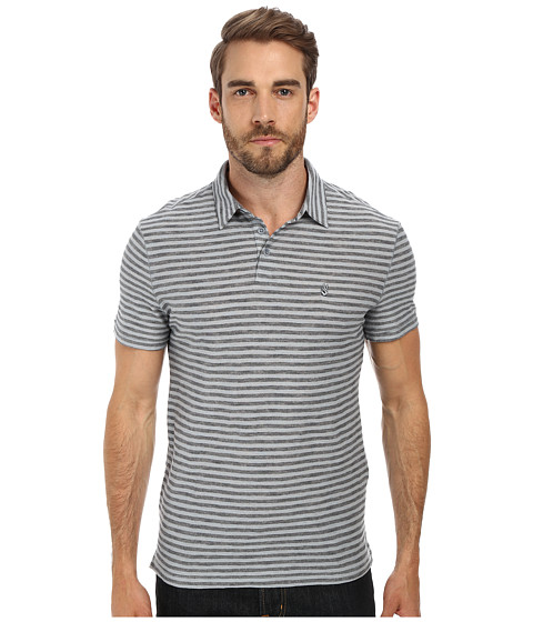 John Varvatos Star U.S.A. - Soft Collar Peace Polo with Vertical Pickstitch Trapunto Details and Peace Sign Chest Embroidery (Marine) Men's Short Sleeve Pullove
