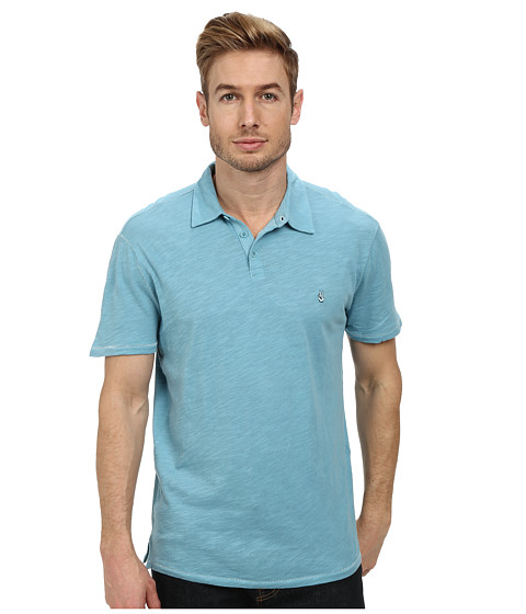 John Varvatos Star U.S.A. - Soft Collar Peace Polo with Contrast Stitching and Peace Sign Chest Embroidery (Pale Aqua) Men's Clothing