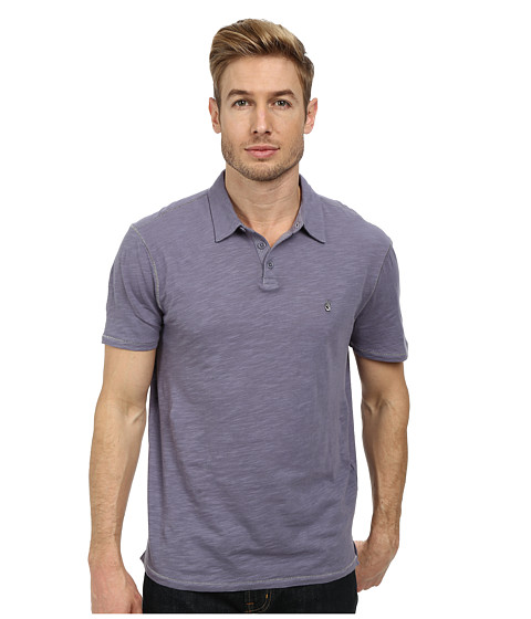 John Varvatos Star U.S.A. - Soft Collar Peace Polo with Contrast Stitching and Peace Sign Chest Embroidery (Iris) Men