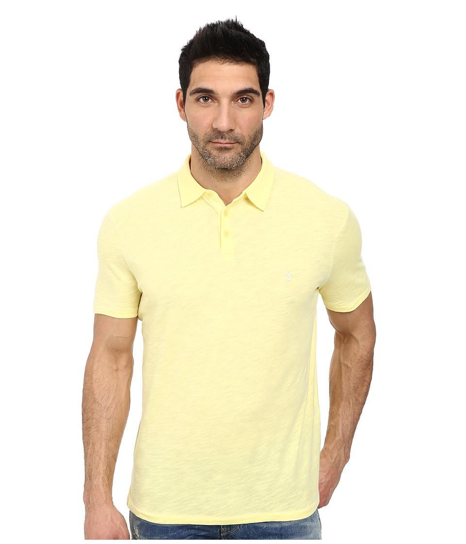 John Varvatos Star U.S.A. - Soft Collar Peace Polo with Contrast Stitching and Peace Sign Chest Embroidery (Lemon) Men's Clothing