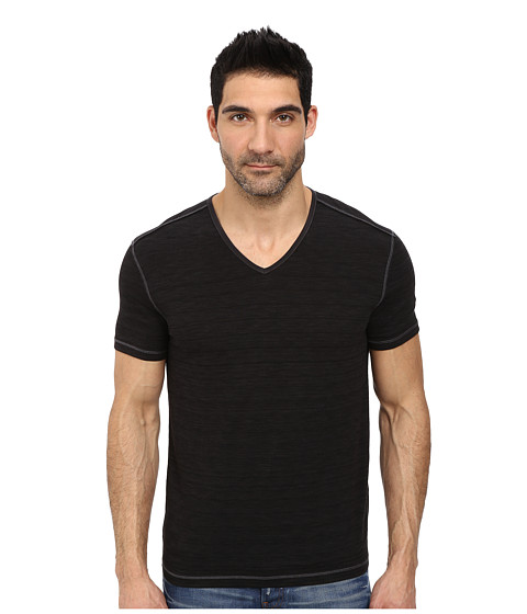 John Varvatos Star U.S.A. - Short Sleeved Slub Knit V-Neck With Jersey Trim (Black) Men's Clothing