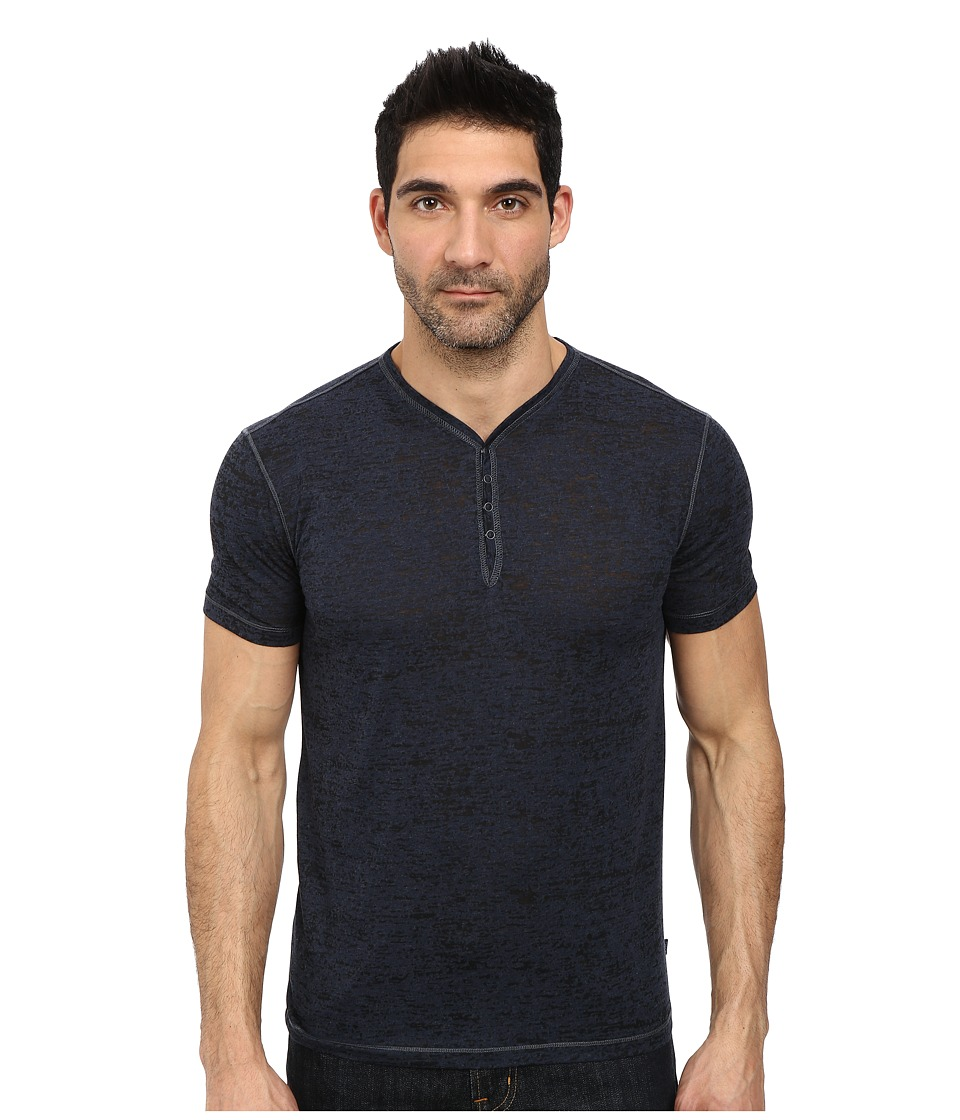 John Varvatos Star U.S.A. - Short Sleeve Snap Eyelet Henley Knit w/ Rib Neck Trim (Blue Heather) Men's Clothing