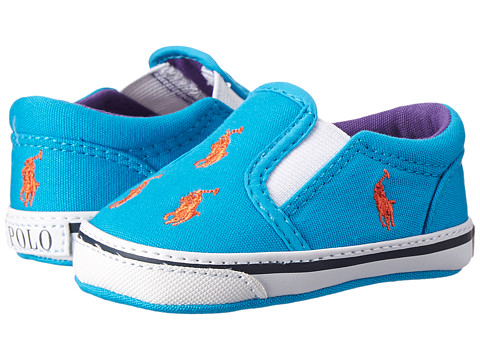 Ralph Lauren Layette Kids - Bal Harbour Repeat (Infant/Toddler) (Caribbean Blue Canvas/Orange Ponies) Kids Shoes