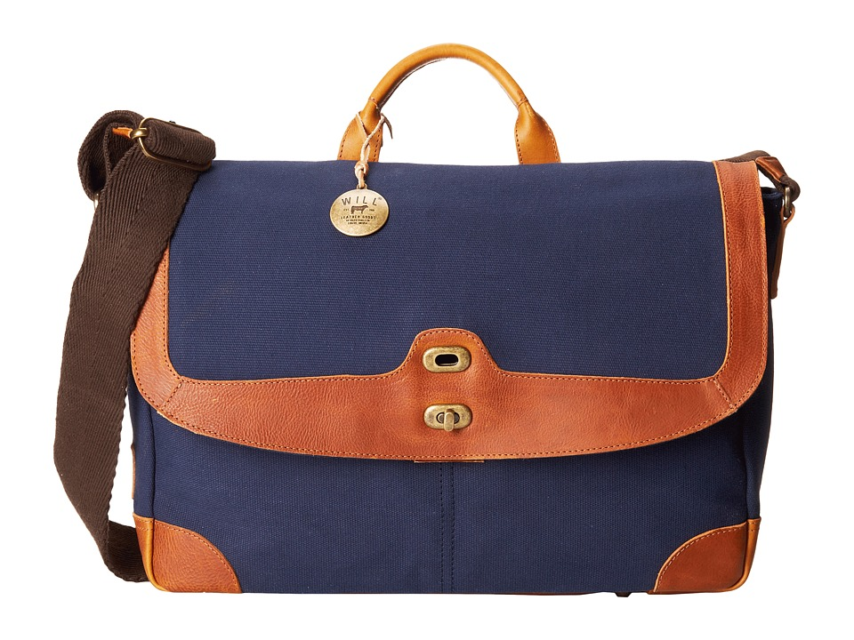 Will Leather Goods - Dennis Messenger (Navy/Tan) Messenger Bags