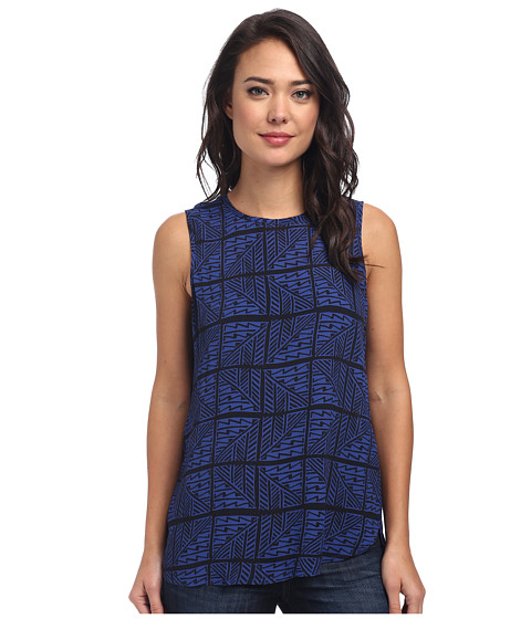 Lucky Brand - Zig Zag Print Top (Blue Multi) Women's Sleeveless