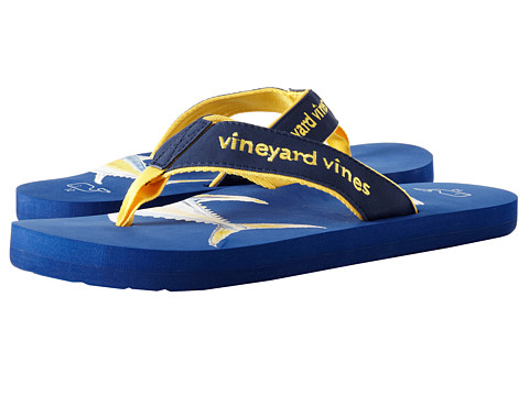 Vineyard Vines - Yellow Fin Tuna Flip Flop (Navy) Men's Sandals