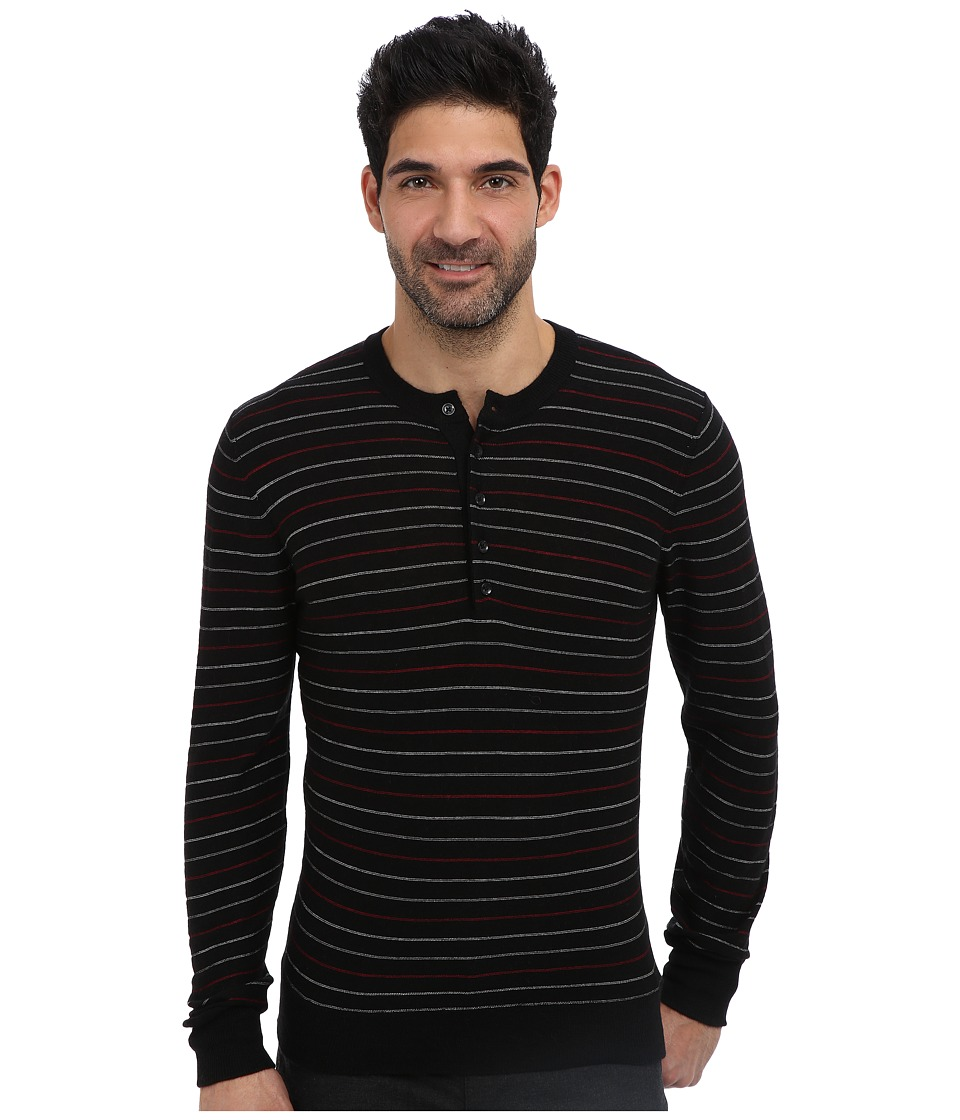 7 For All Mankind - Multi Stripe Henley Sweater (Onyx) Men
