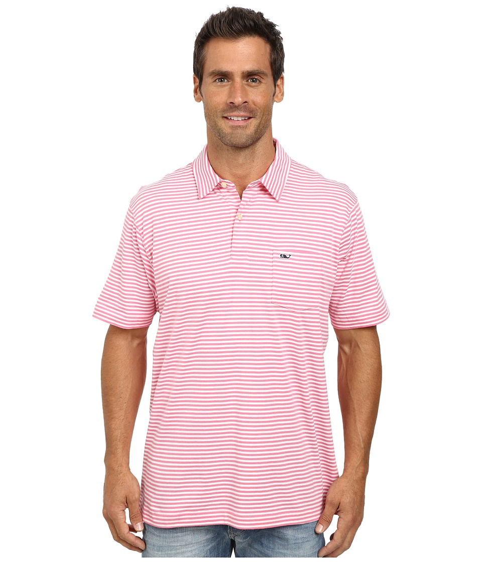Vineyard Vines - Feeder Stripe Jersey Polo (Pink) Men's Short Sleeve Pullover