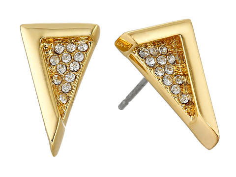 Vince Camuto - Edge of Elegance Triangle Stud Earrings (Gold/Crystal) Earring