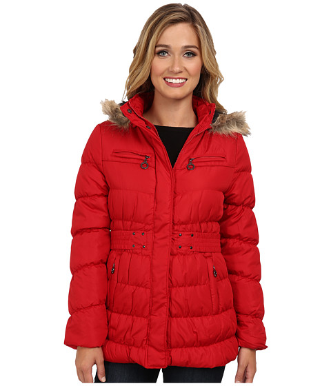 dollhouse - 3/4 Coat w/ Detachable Faux Fur Trim Hood (Bright Red) Women's Coat