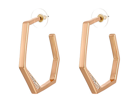 Vince Camuto - Edge of Elegance Rose Gold Hoop Earrings (Rose Gold/Crystal) Earring
