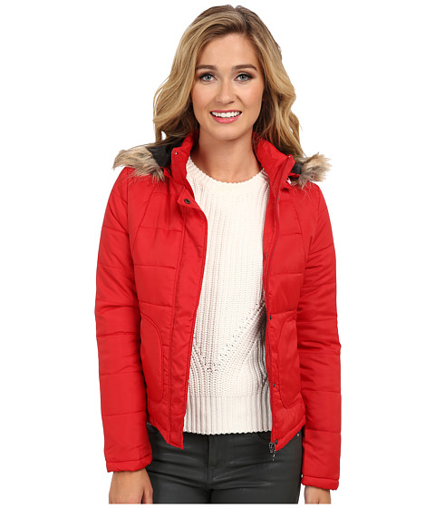dollhouse - Zip-Front Coat w/ Snap Placket Detachable Faux Fur Trim Hood (Red) Women's Coat